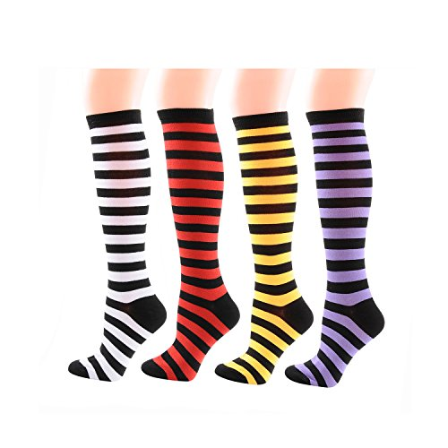 Deer Mum Women Girl Assorted Color Knee High Socks (set 3) (Knee Socks Girls)