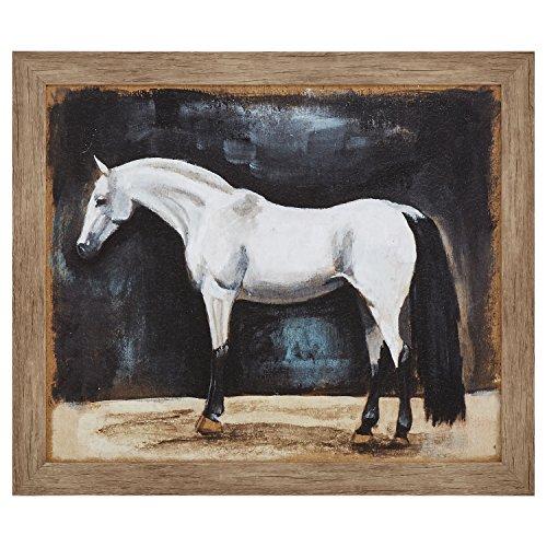Framed Rustic Appaloosa Horse Print II Wall Art Decor - 23 x 27 Inch, Warm Grey Barnwood