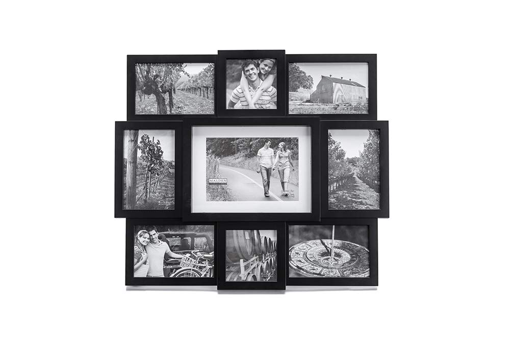 "Malden 9-Opening Collage Picture Frame, Made To Display One (1) 5"" x 7"", Two (2) 4"" x 4"" and Six (6) 4"" x 6"" Pictures, Black"