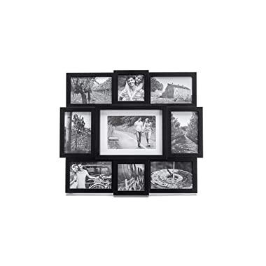 Malden 9-Opening Collage Picture Frame, Made To Display One (1) 5  x 7 , Two (2) 4  x 4  and Six (6) 4  x 6  Pictures, Black