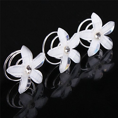 Bridal Hair accessories White Resin Flower Spiral Folder Hairpin With Pearl Diamond Inlaid Headdress - (Spiral Resin)