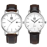 AIBI Brown Leather Waterproof Clearance Face Watches For Couple Lovers With Date; Case: 40MM/34MM