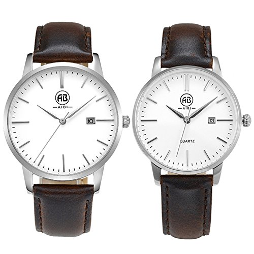 AIBI Brown Leather Waterproof Clearance Face Watches For Couple Lovers With Date; Case: 40MM/34MM by AIBI