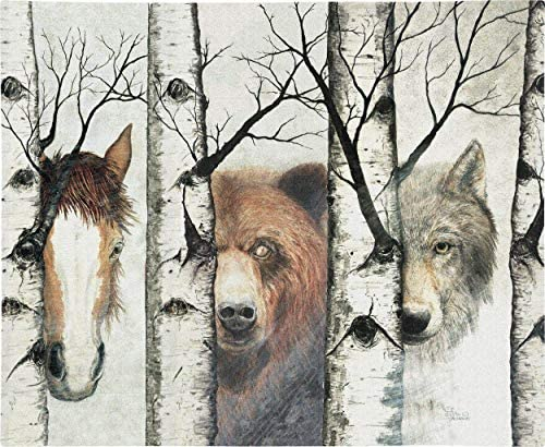Pure Country Weavers Trio Woven Tapestry Wall Art Hanging Diverse Wildlife Among Birch Trees 100 Cotton USA Size 34×26