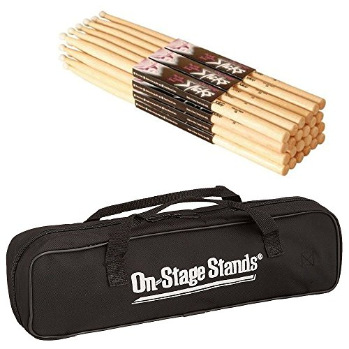 Sound Percussion Sticks (On Stage Maple Wood 7A (12 pair) + On Stage Drum Stick Bag (Holds 12 pairs) - Top Value Drumstick Bundle!!)