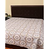 Queen Bedspreads Cotton Gray Printed Floral Double Bedsheets For Décor By Rajrang