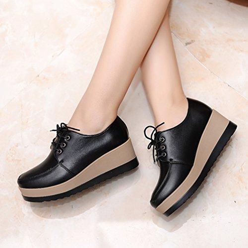 LvRao Women High Platform Shoes Lace UP Fashionable PU Leather Low Ankle Boots Autumn Black wn05W
