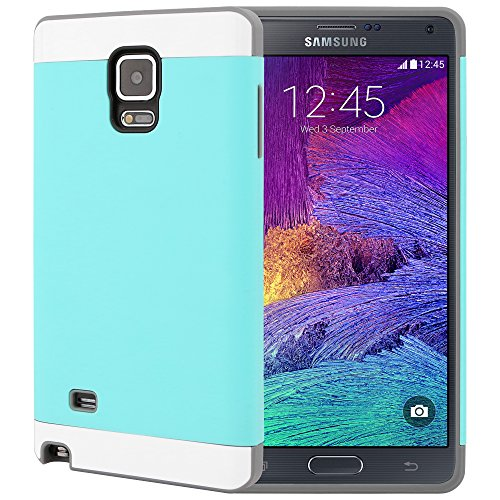 Galaxy Note 4 Case, CellJoy [Vivid Armor] (Turquoise Teal / Gray) Slim Fit Armor Hybrid Case For Samsung Galaxy Note 4 IV N910 Dual Protection Hard Cover with TPU **Shockproof**