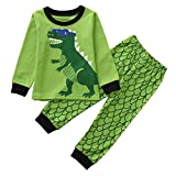 Little Kids Dinosaur Pajamas Sets,Jchen(TM) Baby Infant Kids Little Boys Dinosaur Print Long Sleeve Tops+Long Pants Home Wear Outfits for 1-5 Y (Age: 3-4 Years Old, Green A)
