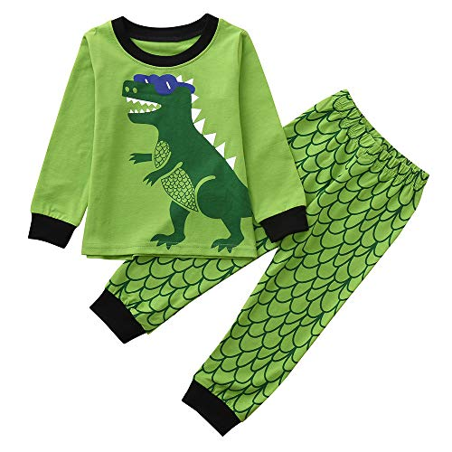 Baby Clothes Dinosaur, 2Pcs Toddler Kids Baby Boys Dinosaurs Pajamas Cartoon Print Tops Pants (2-7T) (Green -2, 4-5T) -
