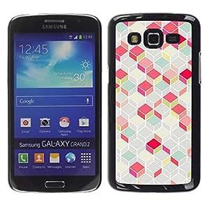 TopCaseStore / la caja del caucho duro de la cubierta de protección de la piel - Polygon Pattern Pink Teal 3D Lines Classy - Samsung Galaxy Grand 2 SM-G7102 SM-G7105