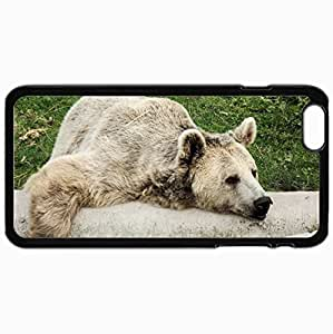 Customized Cellphone Case Back Cover For iPhone 6 Plus, Protective Hardshell Case Personalized Bear Tree Lying Lazy Black