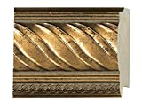 Picture Frame Moulding (Wood) 18ft bundle - Traditional Antique Gold Finish - 2.5'' width - 11/16'' rabbet depth