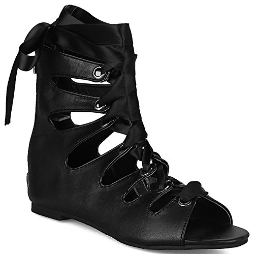 Sandalias DecoStain diseño para roma para de mujer puntera fino negro talón 5 hebilla de con pimienta decoración con qdppxSwr