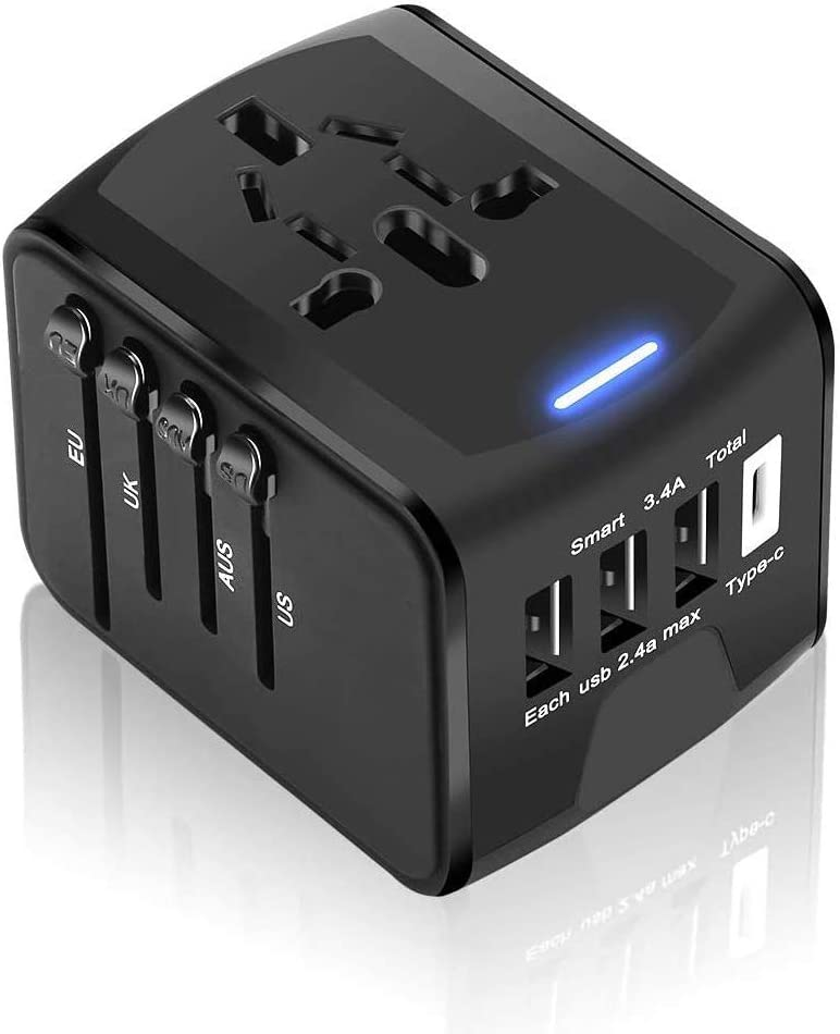 Universal USB Travel Adapter, REEXBON Worldwide All in One International Wall Charger AC Power Plug with 3 USB and 1 Type C Charger Fast Wall Charger for USA EU UK AUS Cell Phone Laptop