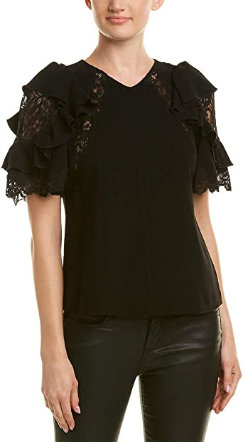 Rebecca Taylor Womens Shortsleeve Crepe /& Lace Top
