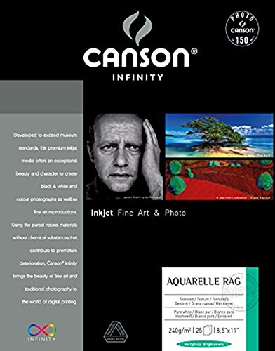 Canson Infinity Aquarelle Rag Fine Art Watercolor Paper, 8.5 x 11 Inch, White, 25 Sheets ()