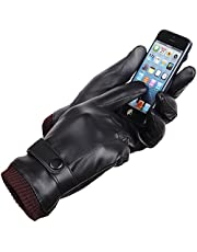 Men's Winter Warm Black PU Leather Gloves Fingertips Touch Screen Play Mobile Phone Thick Coral Fleece Cold Waterproof and Windproof for Outdoor Sports