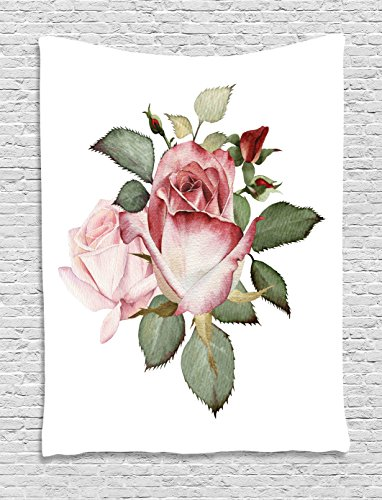 Flower Decor Tapestry by , Shabby Chic Romantic Decor with a Big Roses and Leaves Buds Color