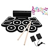 OCDAY 9 Pad Portable Electronic Drum Set Portable Drum Practice Pad Silicon Roll Up Electronic Drums Pad Kit with Speaker, Sticks and Sustain Foot Pedal for Beginners and Children