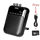 Molshine 5 Watt Mini Guitar AMP Portable Clip Amplifier Speaker Recorder Rechargeable TF Card Slot for Acoustic, Electric Guitar, Bass (Include 16GB TF Card and USB Cable)-Black