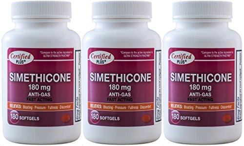 Simethicone 180 mg 540 Softgels Anti-Gas Generic for Phazyme Ultra Strength Fast Relief of Stomach Gas and Bloating 180 Gelcaps per Bottle Pack of 3 Total 540 Gelcaps