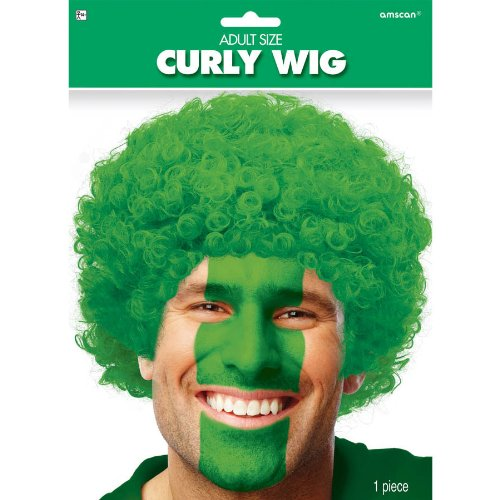 Amscan Curly Afro Wig Costume Party Headwear, Green, FIBER, 11