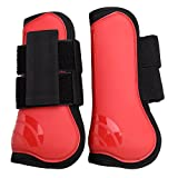 NKTM Open Front Boots Horse Exercise Boots, Red Black