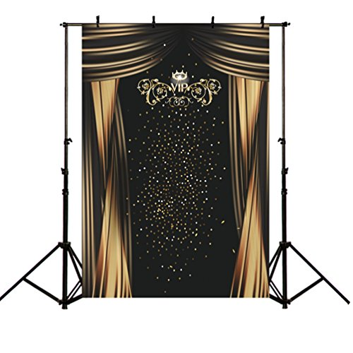 MEHOFOTO Photography Backdrops Gorgeous Gold Stars Black Curtain VIP Polyester Photo Studio Booth Background 5x7ft