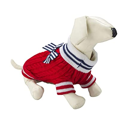 CueCue Pet Dresses Vest and Plaid Hoodies for Small Dogs (Medium, Sweater  Red/White)