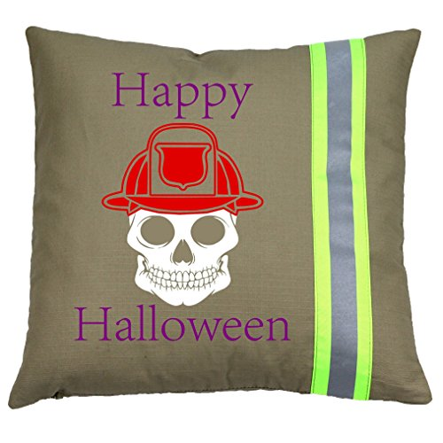 Fully Involved Stitching Happy Halloween Firefighter Skull Throw