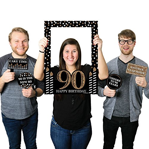 Adult 90th Birthday - Gold - Birthday Party Photo Booth Picture Frame & Props - Printed on Sturdy - Dot Frame
