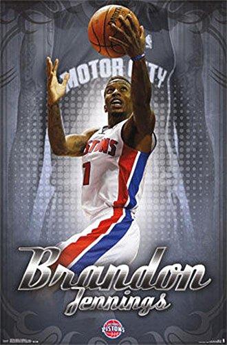 Brandon Jennings Detroit Pistons Poster 22 x 34in