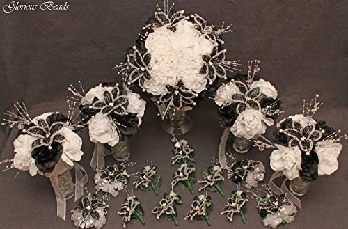 - Black and Silver Beaded Lily Wedding Flower 17 piece set with Black and White Roses ~ Unique French beaded flowers and beaded sprays. Includes Bouquets Corsages and Boutonnieres