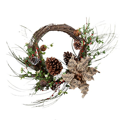 "Your Heart's Delight 24"" x 12"" x 12"" Pinecone and Burlap Poinsettia Wreath with Bells"
