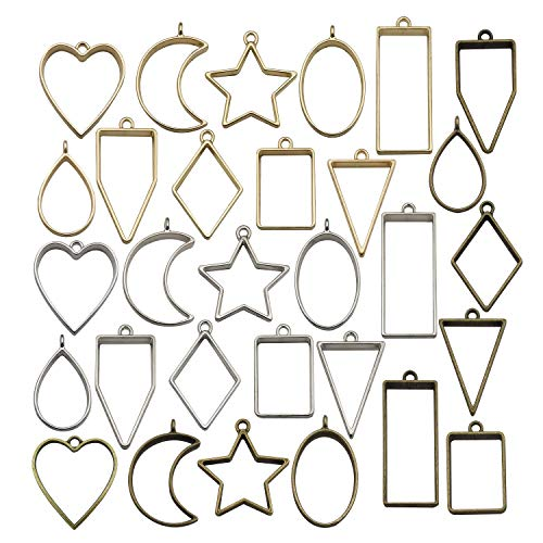 30PCS Bezel Charms Pendants Open Back Bezel Pendants Hollow Mold Pendants Assorted Geometric Hollow Pressed Flower Frame Pendant DIY Crafts for Resin Earrings Necklace Bracelet M285