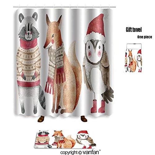 vanfan bath sets Polyester rugs shower curtain christmas watercolor animals set fox raccoon shower curtains sets bathroom 66 x 72 inches&23.6 x 15.7 inches(Free 1 towel 12 hooks) by vanfan