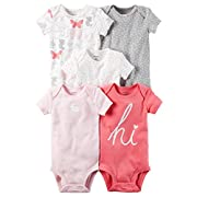 William Carter Girls 5 Pack Short Sleeve Bodysuit Undershirt Set Rabbit/Hi, Newborn