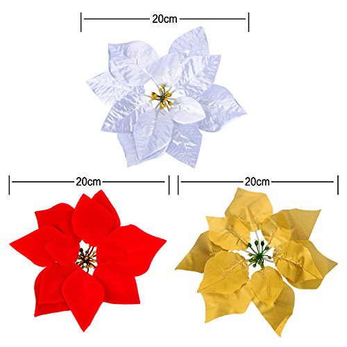 30-Pieces-Christmas-Flowers-Artificial-Red-Gold-Silver-Poinsettia-for-Christmas-Tree-Basket-Wreaths-OrnamentsDia-20-cm-8-inches