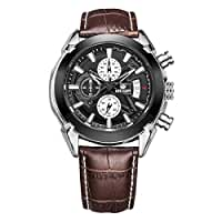 Megir Brown Mens Chronograph Miltary Casual Sport Brown Leather Quartz Watch