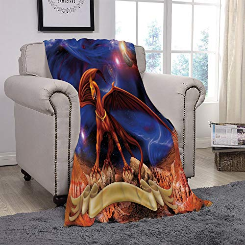 Light weight Fleece Throw Blanket/Dragon,Fantasy Scene with Dragon Knight against Cosmos Galaxy Planetary Space Background Decorative,Blue Cinnamon/for Couch Bed Sofa for Adults Teen Girls Boys