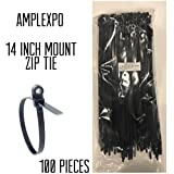 AMPLEXPO Mount Zip / Cable Ties (120 lbs strength) (100 pieces) (14'' inches, Black)