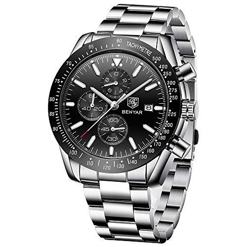 BENYAR Mens Watches Waterproof Chronograph Analog Quartz Watch Men Luxury Brand Business Wristwatch with Stainless Steel Band (Best Chronograph Under 500)