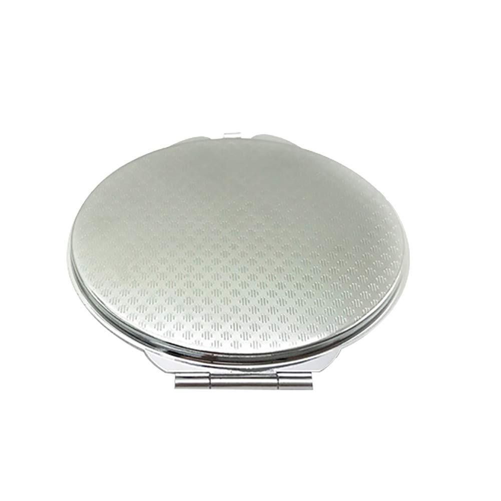 lightclub 1Pc Women Silver Portable small Mini Double Sided Makeup Mirror Pocket Mirror Cosmetic Folding For Home Shopping Travel Oval