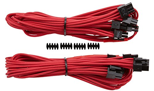 Corsair CP-8920181 Premium Individually Sleeved PCIe Cables with Dual Connectors, Red, for Corsair PSUs