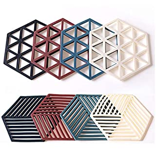 Silicone Trivet Mats and Hot Pads 8 Pcs 5.63 4.92 IN Hexagon Heat Resistant Multifuntion Kitchen Tool for Bowl Mats, Dish Mats, Placemats, and Drink Coasters