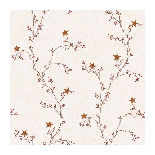 York Wallcoverings Best Of Country RF3525 Star Berry Vine Wallpaper, Off White ()