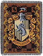 "Harry Potter, Hufflepuff Crest Woven Tapestry, 48"" x 60"" Throw Blanket,"