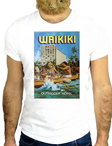 T SHIRT Z0970 WAIKIKI COOL BEACH SURF NICE USA HAWAII AMERICA LOS ANGELES GGG24 BIANCA - WHITE XL
