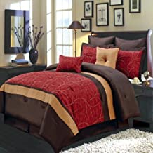 Egyptian Bedding Luxurious OLYMPIC QUEEN Size 8 Piece RED ATLANTIS Comforter Set with Comforter, Pillow Shams, Decorative Pillows, Bed Skirt, Color Style Red Chocolate Gold